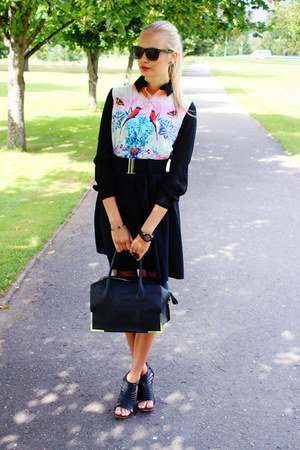 light blue PERSUNMALL blouse - black H&M bag - black New Yorker skirt