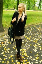 dark brown Primark boots - black Primark coat - black seppala bag