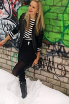 black necklace New Yorker jacket - black Danija boots - black Promod sweater