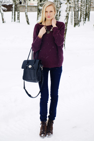 dark brown Primark boots - navy H&M jeans - maroon New Yorker sweater