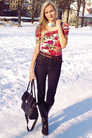 black Danija boots - navy Cubus jeans - black seppala bag