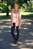 light pink Zara blazer - navy New Yorker jeans - black Deichmann heels