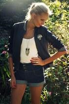 gray Zara jacket - navy Pimkie shorts - white H&M top