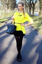 yellow PERSUNMALL sweater - black PERSUNMALL bag - black H&M skirt