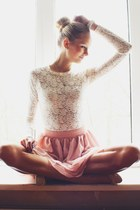 white Ebay blouse - pink OASAP skirt