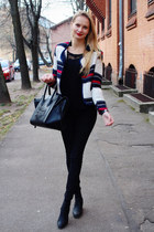 black H&M jeans - white blackfive blazer - black Ebay bag