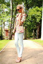 peach Choies blazer - light blue H&M jeans - white H&M top