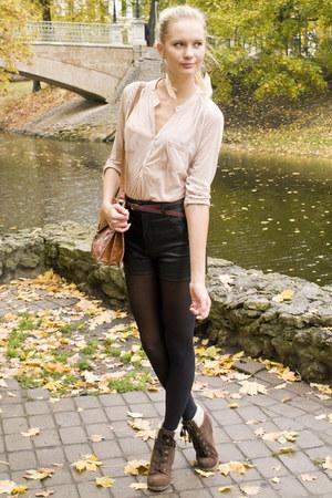 dark brown Primark boots - black H&M tights - black Bik Bok shorts