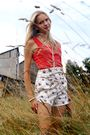 Red-h-m-top-white-zara-shorts-black-graceland-shoes-pink-bijou-brigitte-br
