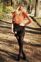 black H&M skirt - black H&M tights - black Mango bag - black Deichmann heels