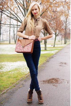 brown Primark bag - dark brown Primark boots - dark brown Cubus jeans