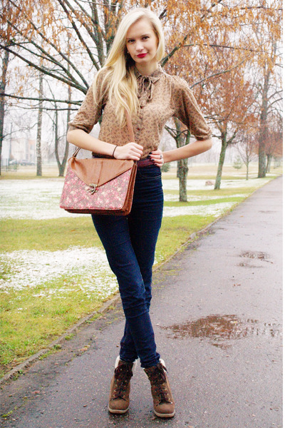 brown Primark bag - dark brown Primark boots - dark brown Cubus jeans