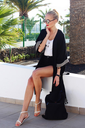 black H&M shorts - black Jimmy Choo sunglasses - white H&M top