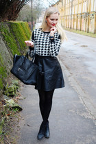 white foymall sweater - black H&M boots - black PERSUNMALL bag - black H&M skirt