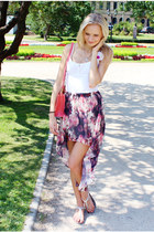 maroon H&M skirt - bubble gum Arafeelcom bag - white reserved top