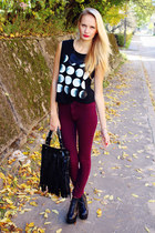 black Ebay bag - black Front Row Shop top - crimson H&M pants