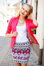 hot pink Terranova skirt - hot pink H&M blazer - white H&M top