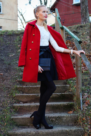 ruby red PERSUNMALL coat - black H&M bag - white Arafeelcom blouse