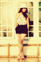 Zara dress - black vintage shorts - white Steve Madden shoes