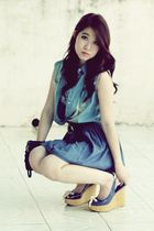 blue Portman top - blue vintage vest - blue vintage - blue Charles & Keith shoes