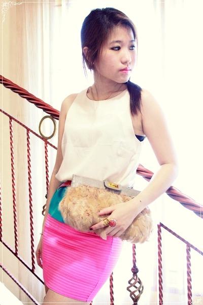 asos purse - Bebe heels - Topshop blouse - YSL ring