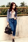 Pink-pull-bear-top-black-salvatore-ferragamo-bag-blue-vintage-pants-blue
