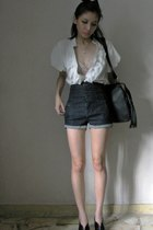 flea blouse - forever 21 intimate - Topshop shorts - Nine West purse - accessori