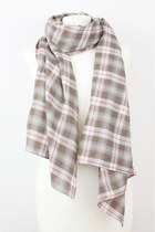 Brown GINGHAM Long Cotton Scarf SD25