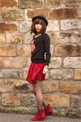Ruby-red-velvet-urban-outfitters-skirt-ruby-red-wedge-heels-office-boots