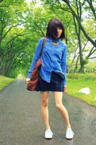 DIY skirt skirt - denim shirt Urban Outfitters shirt - tote Wood Wood bag