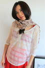 Light Pink Leopard Print Cross Wood Store Scarves