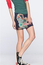 Navy Blue Miniskirt with Oriental Floral Embroidery C01