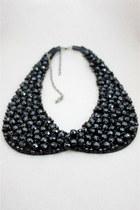 black manmade crystal CrossWoosStore necklace