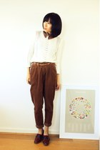 white cotton Zara sweater - brown CrossWoodStore accessories