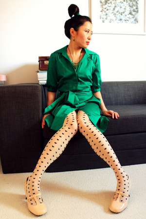 ivory Office shoes - dark green collared belted Amani dress