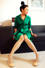 Ivory-office-shoes-dark-green-collared-belted-amani-dress