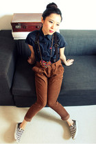 brown cuffed corduroy Forever 21 pants - navy short-sleeve Hekey shirt
