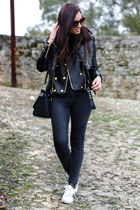 black leather jacket Balmain x H&M jacket - black Calzedonia leggings