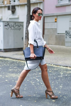white La Boheme dress - black Michael Kors bag - Hera heels