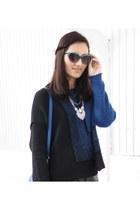 blue knit Sarah Pacini sweater - black suede Mango boots - blue Parfois bag