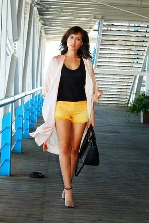black genuine leather Michael Kors bag - gold denim Re-Vintage Clothing shorts