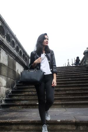 black Luisa Spagnoli jacket - black Calzedonia leggings - black Michael Kors bag