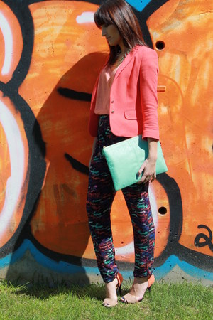 light orange Zara blazer - light orange pull&bear shirt - light blue Primark bag