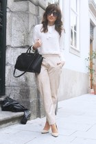 cream suede Ana Sousa pants - off white Mango shirt