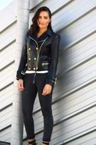 black Calzedonia leggings - black leather jacket Balmain x H&M blazer