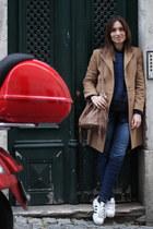 blue Sarah Pacini sweater - tan Zara coat - pull&bear jeans