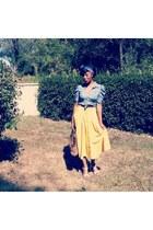 unknown brand skirt - denim shirt H&M shirt - silk scarf christian dior scarf