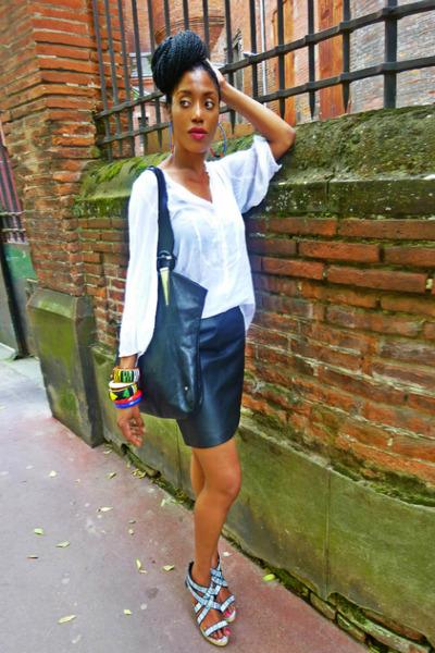 black leather zapa skirt - black Ferromoda bag - white coton Mango blouse