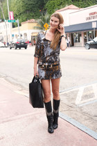 dark green printed Zara dress - black studded Tony Mora boots