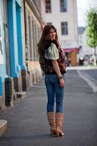 vintage accessories - vintage vest - vintage blouse - Fornarina jeans - Fornarin